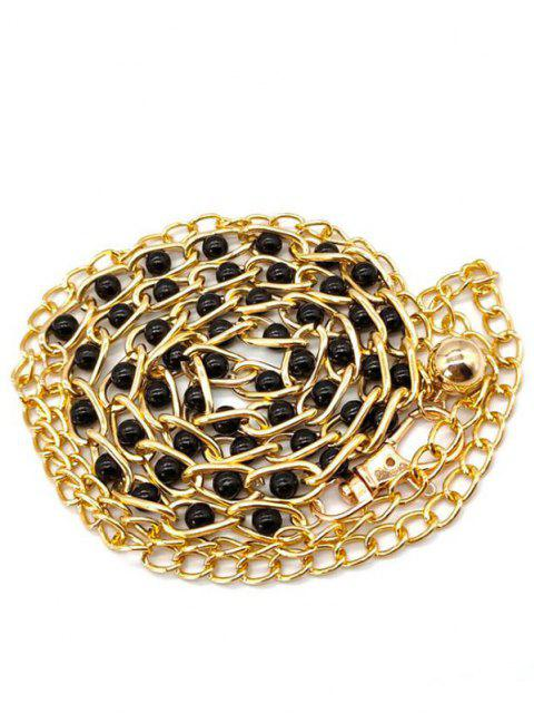 Perle Verzierter Kleid Taille Kette - Schwarz  Mobile