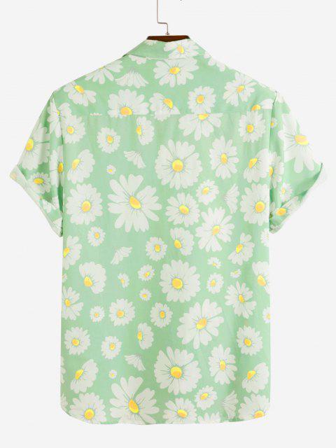 Gänseblümchenmuster-Ferien-Shirt - Hellgrün XXL Mobile
