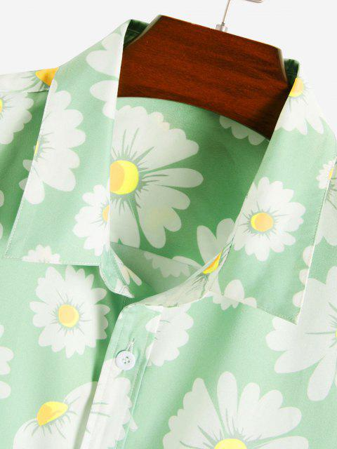 hot Daisy Pattern Vacation Shirt - LIGHT GREEN S Mobile