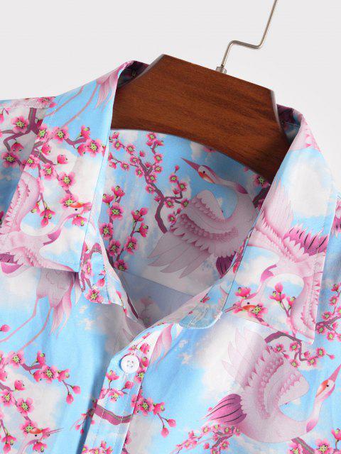 Blüten Fliegender Kran Blumendruck Urlaub Hemd - Helles Blau XXL Mobile