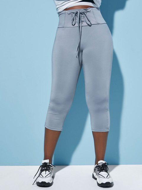 latest Plus Size Lace Up Cropped Skinny Leggings - GRAY L Mobile