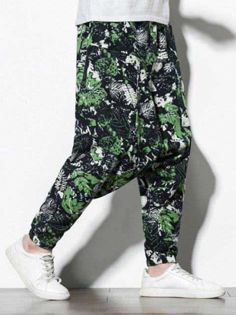 Pantaloni Harem con Stampa Foglie Tropicali - Multi Colori-A L Mobile