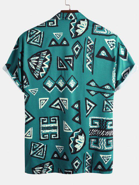 Geometrisches Muster Kurzarm Hemd - Blau XXL Mobile