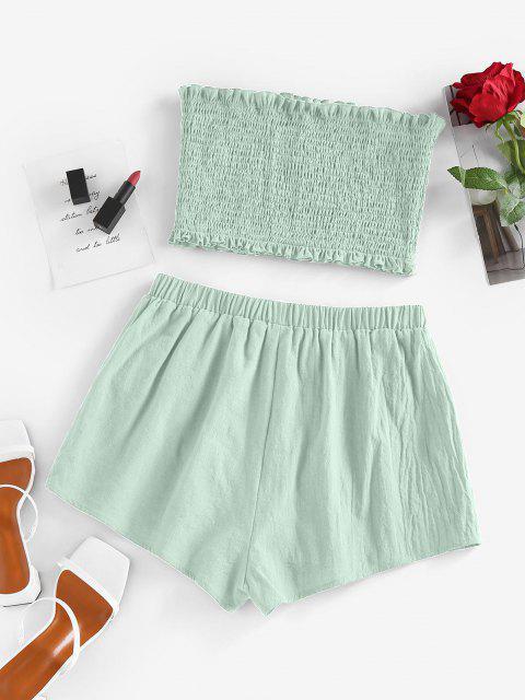 ZAFUL Conjunto de Bandeau con Volantes y Shorts - Verde claro S Mobile