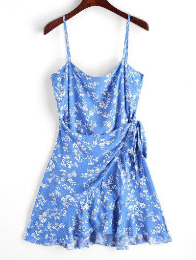 Ruffles Overlap Mini Dress - Blue S