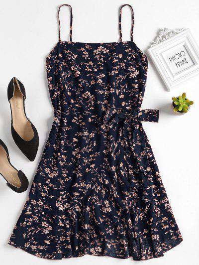 Ruffles Overlap Mini Dress - Midnight Blue S