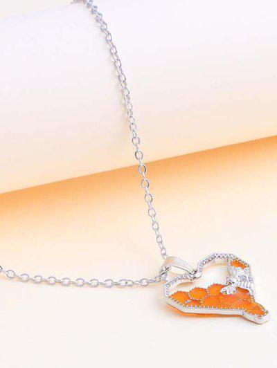 Heart-Shaped Honeycomb And Bee Pendant Necklace - Silver