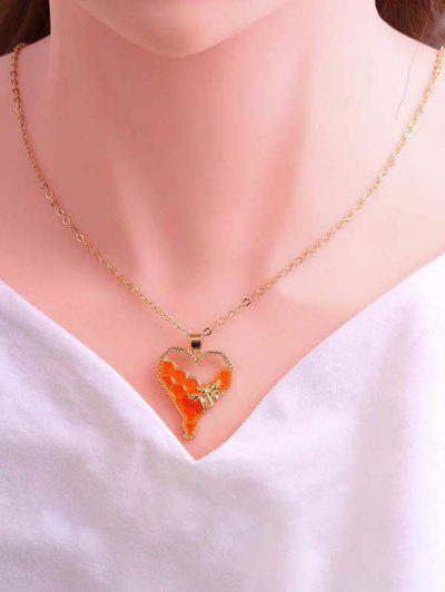 Herzförmige Einteilige Halskette Und Anhänger Halskette - Golden