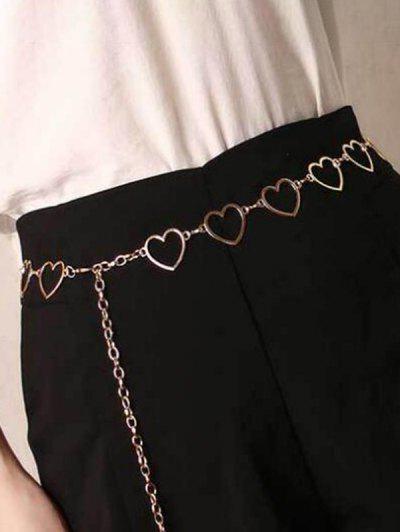 Cut-Out Heart Waist Chain Dress Belt - Golden