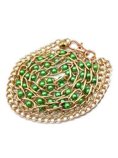 Bead Embellished Dress Waist Chain Belt - Green