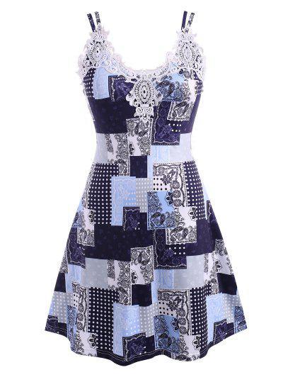 ZAFUL Übergröße Guipure Spitze Trim Patchwork Druck Kleid - Tiefes Blau L