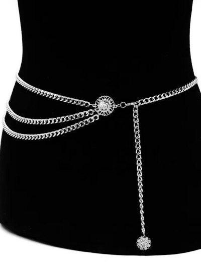 Multi-Layered Engraved Pendant Waist Chain Belt - Silver