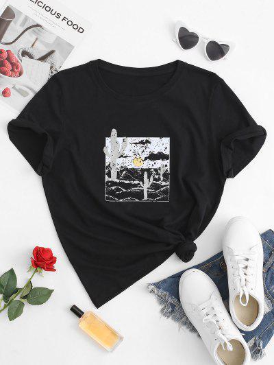 Camiseta Cuello Redondo Estampado 3D Cactus - Negro Xs