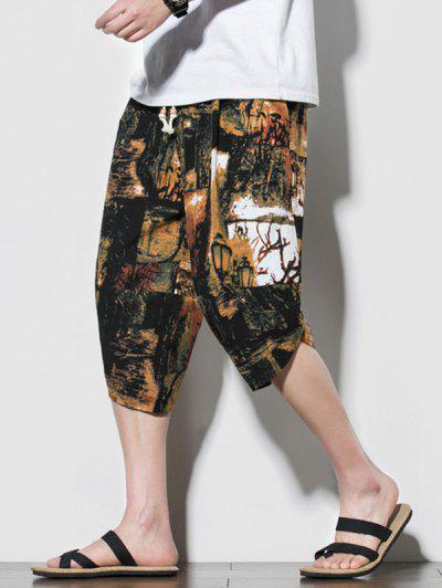 Retro Street Print Beach Cropped Pants - Multi-a Xl
