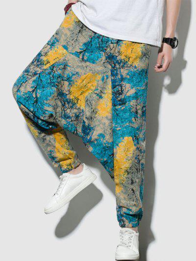 Pantalones Corte Harem Colorido Estampado De Arboles - Multicolor-a S