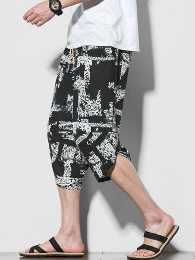 Pantalones Recortados De Playa Con Estampado Abstracto - Negro S