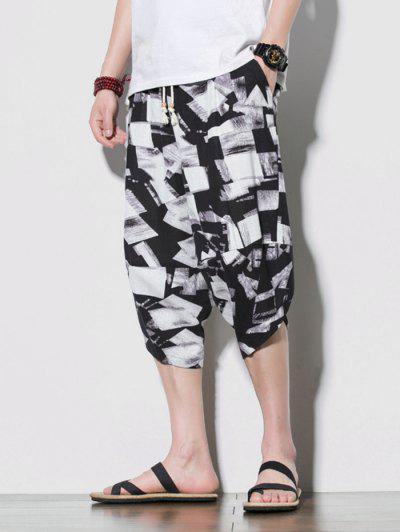 Geometrical Print Beach Cropped Pants - Multi-a 2xl