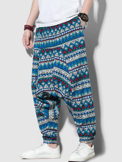 Tribal Print Harem Pants - Multi-a Xs