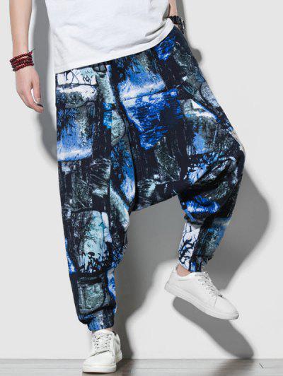 Tie Dye Print Harem Pants - Multi-a L