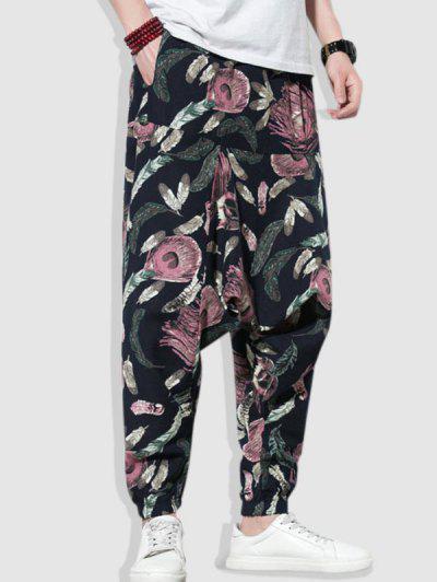 Colorful Feathers Print Harem Pants - Multi-a L