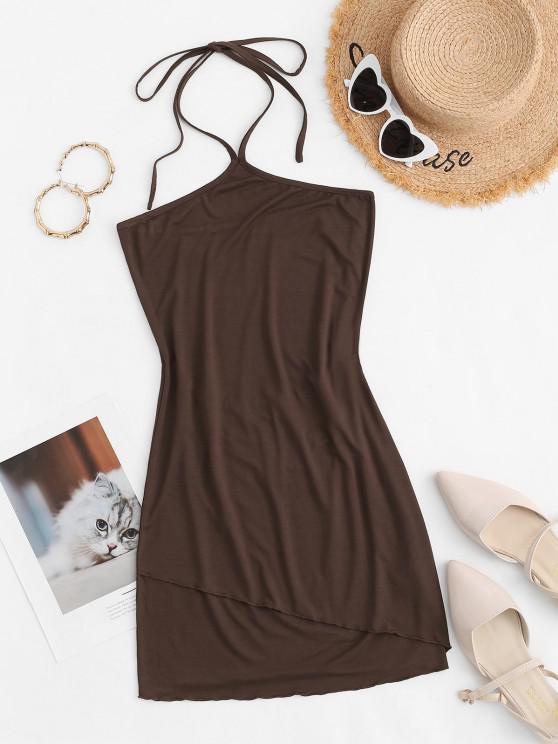 trendy Halter Overlap Front Slinky Mini Dress - DEEP COFFEE S
