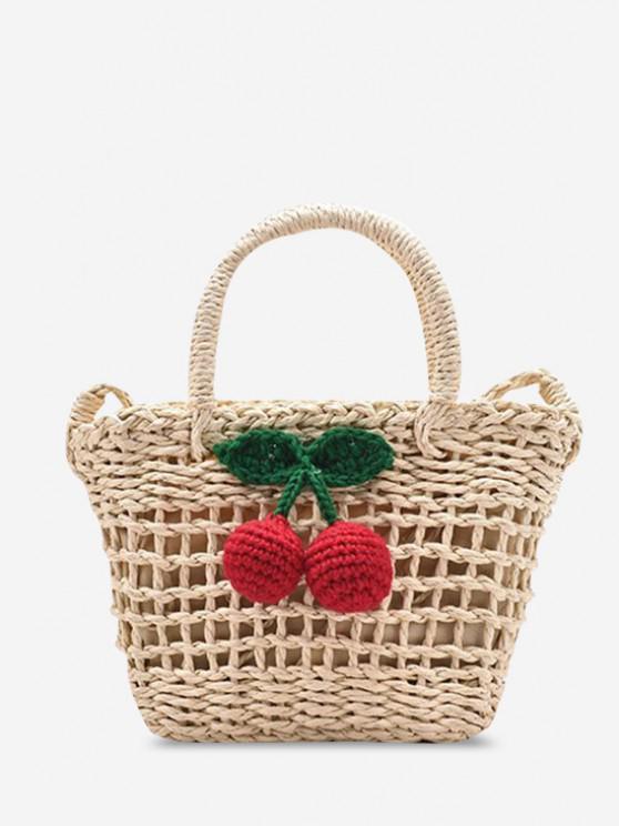 Woven Cherry Decor Top Handle Crossbody Bag - أبيض