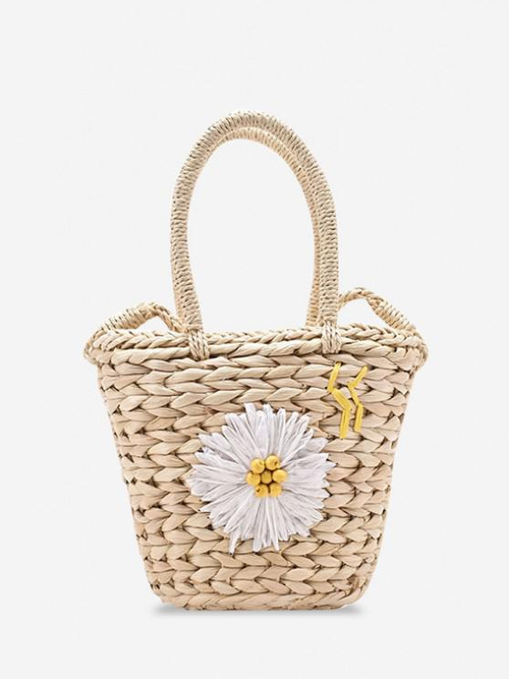 Raffia Woven Daisy Decor Drawstring Crossbody Bag - أبيض