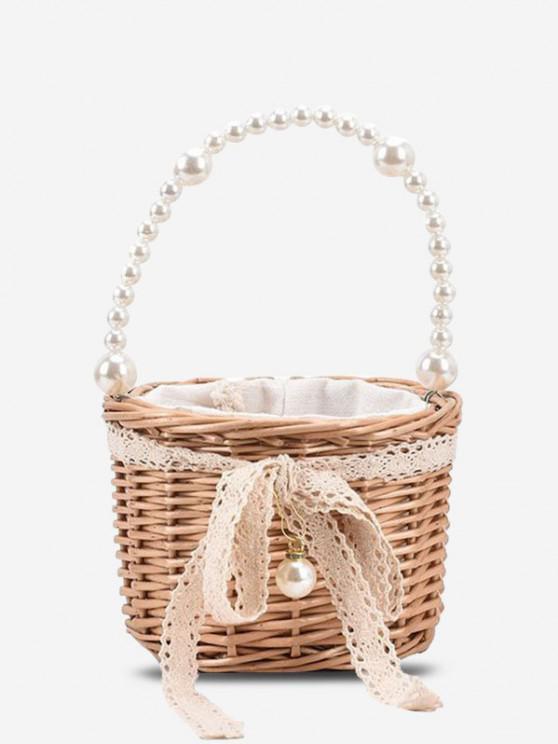 Faux Pearl Handle Lace Basket Handbag - ضوء الكاكي