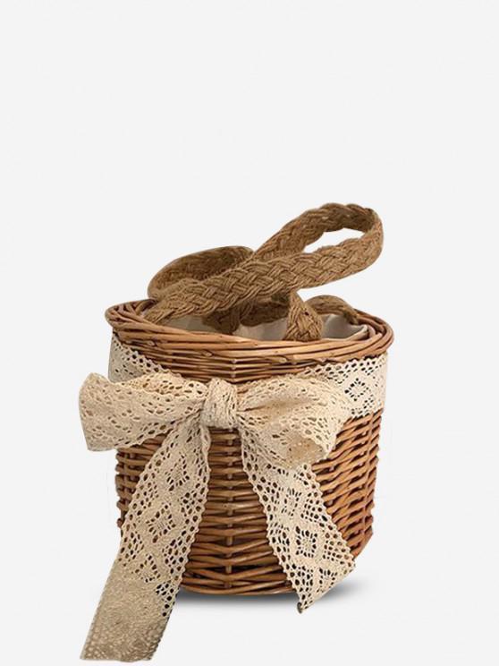 Lace Bowknot Bucket Handbag - ضوء الكاكي