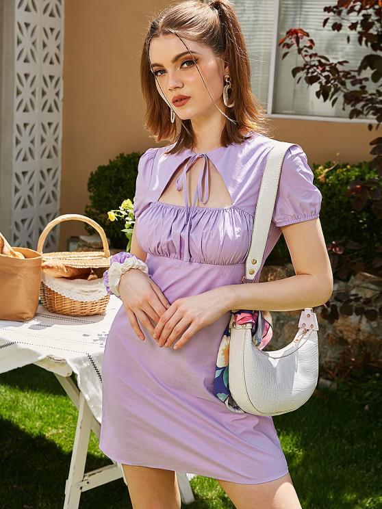 lady ZAFUL Cutout Puff Sleeve Ruched Dress - LIGHT PURPLE XL