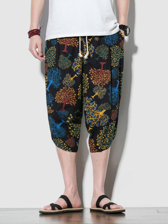 sale Colorful Trees Print Cropped Pants - BLACK 2XL