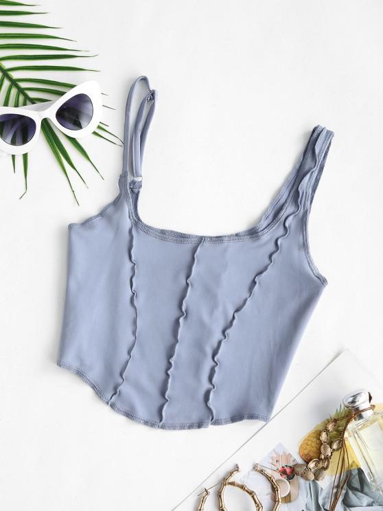 chic Asymmetrical Neck Exposed Seam Crop Tank Top - BLUE S