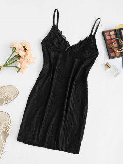 Mini Vestido Ceñido De Dormir Con Encaje - Negro M