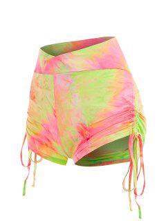Neon Tie Dye Cinched Ruched Scrunch Butt Shorts - Multi S