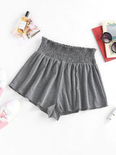 ZAFUL Ruffle Smocked Wide Leg Shorts - Gray Xl