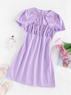 ZAFUL Cutout Puff Sleeve Ruched Dress - Light Purple L