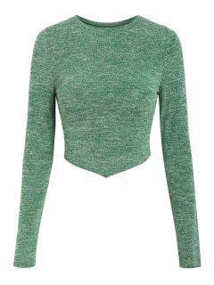 ZAFUL Knitted Drawstring Open Back Pointed Hem T Shirt - Light Green L