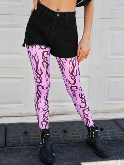 outfits Scroll Print Mesh Footed Leggings - LIGHT PURPLE S Mobile