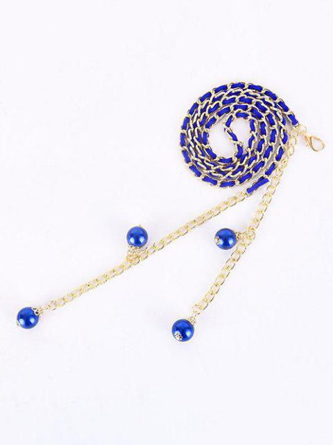 Kunstperlen Anhänger Kleid Taille Kette - Blau  Mobile