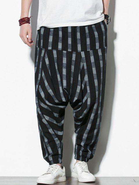 chic Striped Print Harem Pants - BLACK S Mobile