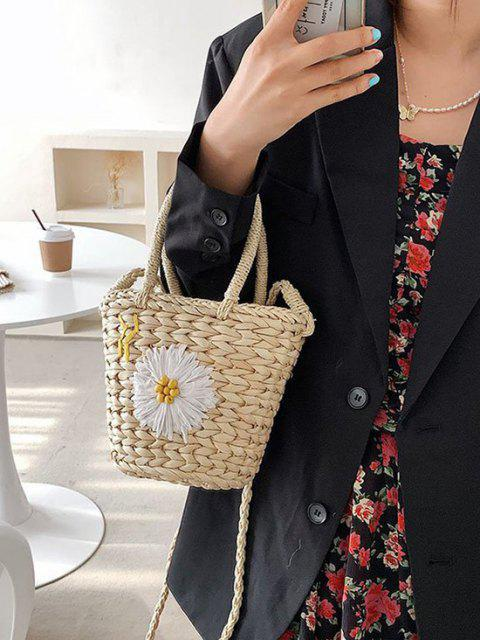Raffia Gewebt Daisy Decor CordString Crossbody Bag - Weiß  Mobile