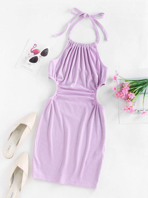 ZAFUL Bodycon Halfter Kleid mit Geripptem Ausschnitt - Helles Lila XL Mobile