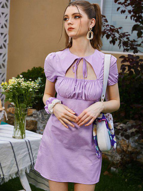 ZAFUL Puff Ärmel Kleid mit Ausschnitt - Helles Lila M Mobile