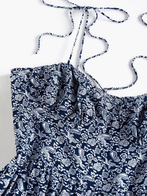 trendy ZAFUL Paisley Printed Flounce Mini Day Dress - DEEP BLUE L Mobile