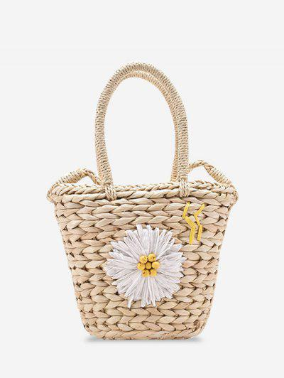 Raffia Woven Daisy Decor Drawstring Crossbody Bag - White