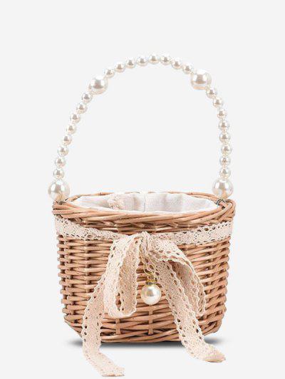 Faux Pearl Handle Lace Basket Handbag - Light Khaki