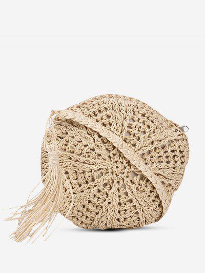 Crochet Tassel Round Crossbody Bag - Beige
