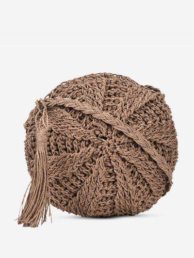 Crochet Tassel Round Crossbody Bag - Light Khaki