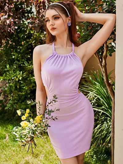 ZAFUL Ribbed Cutout Halter Bodycon Dress - Light Purple M