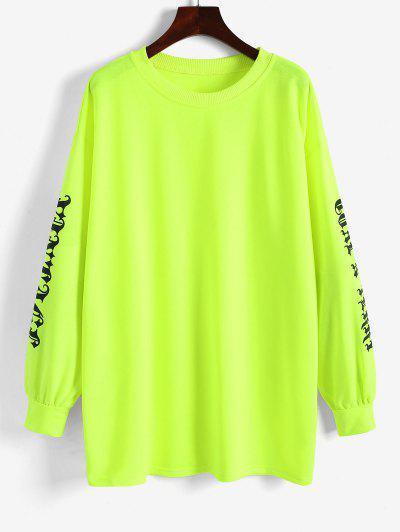 Oversized Graphic Neon Sweatshirt - Green M